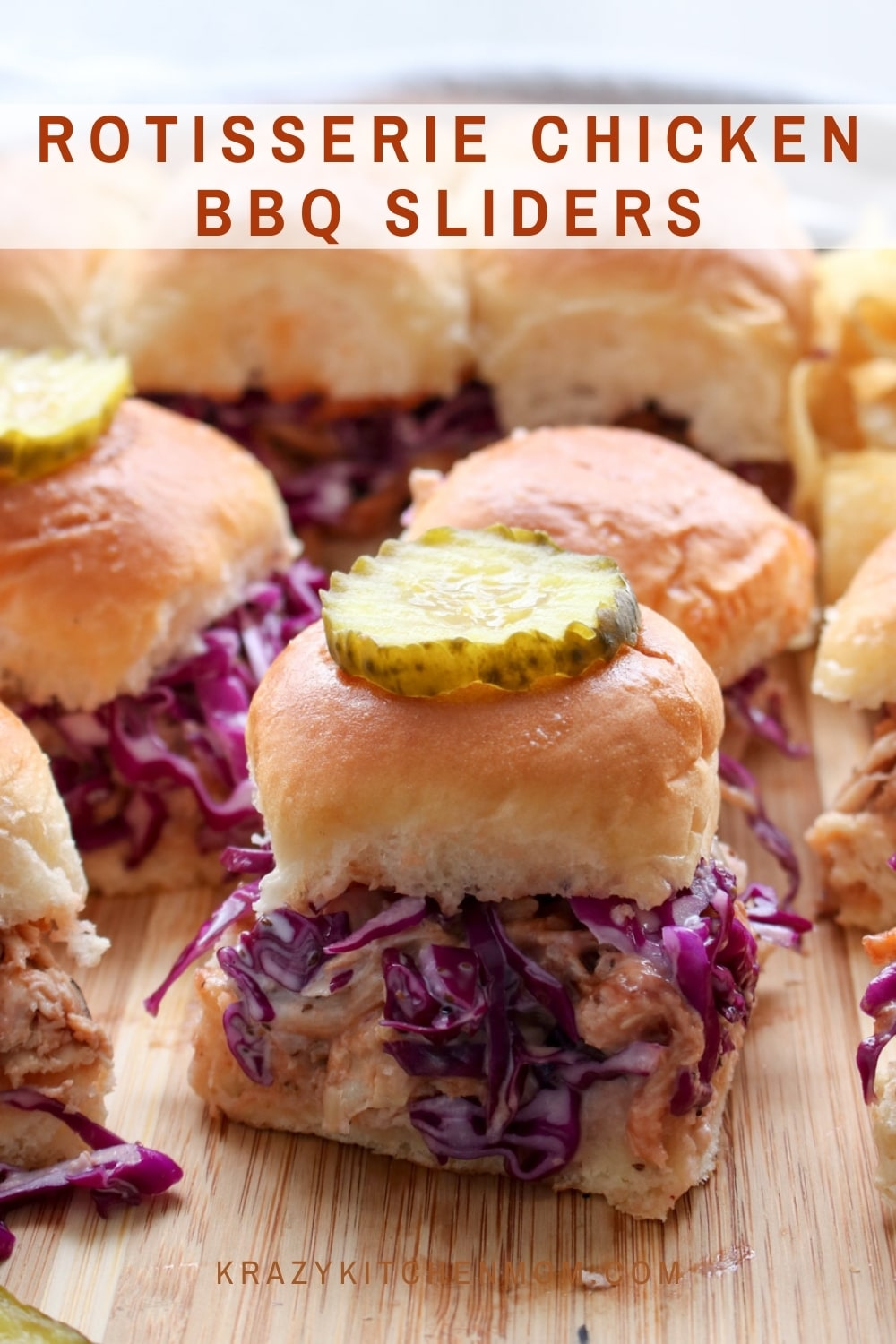 Super simple Rotisserie Chicken BBQ Sliders are made with store-bought rotisserie chicken, your favorite BBQ sauce, homemade slaw, and sweet little Hawaiian rolls. via @krazykitchenmom