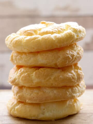 Cloud bread stacked on top of each other 5 slices high