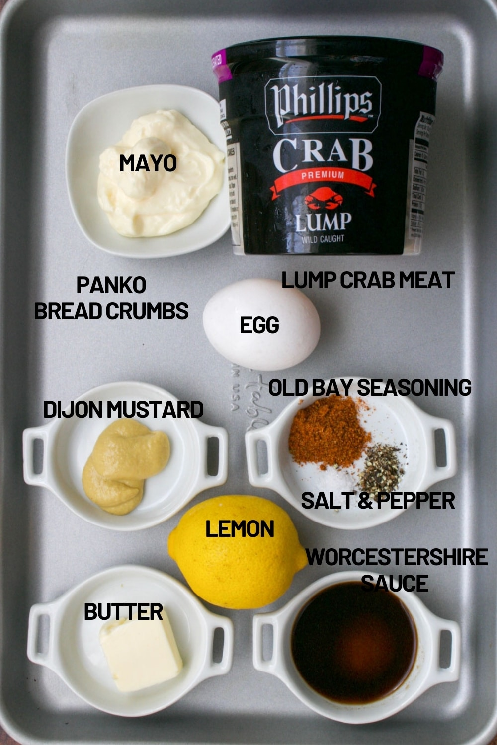 tray with ingredient to make baked crab cakes
