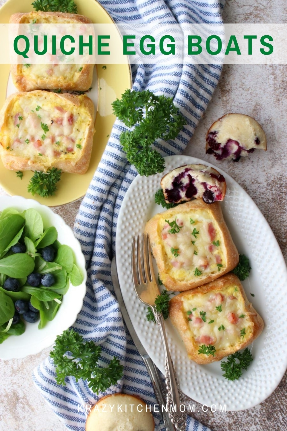 Extra fluffy quiche Lorraine baked in individual ciabatta rolls. Perfect for breakfast on-the-go, a light lunch, or a hearty snack.   via @krazykitchenmom