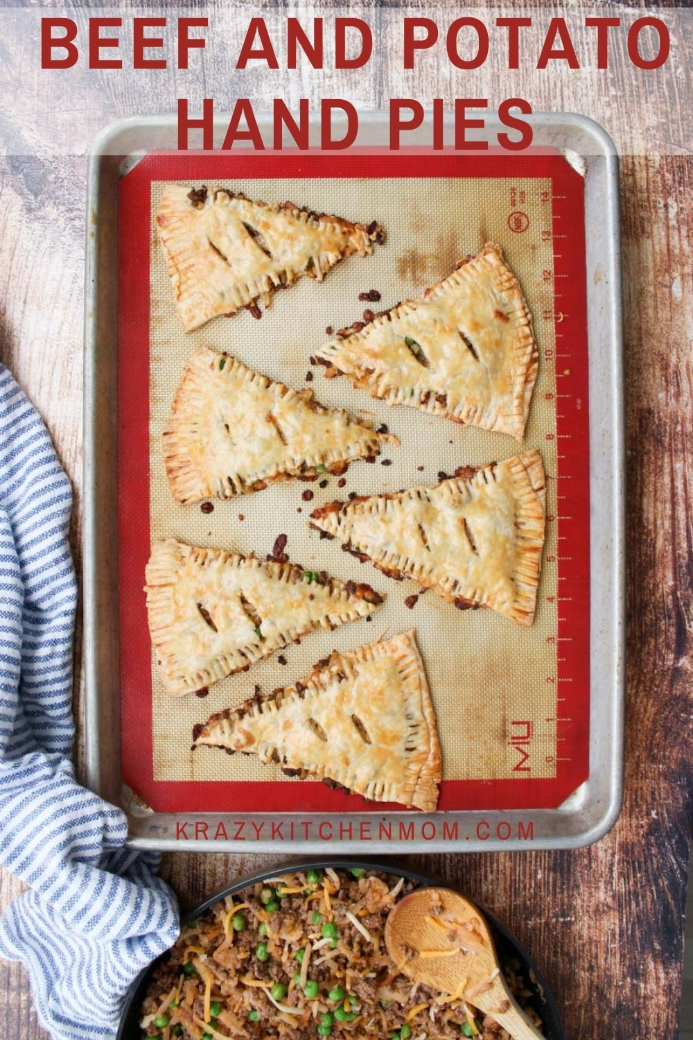 Beef and Potato Hand Pies are flaky little pies filled with ground beef, hash brown potatoes, peas, and cheese. The crust is rustic with extra crunchy edges.  via @krazykitchenmom