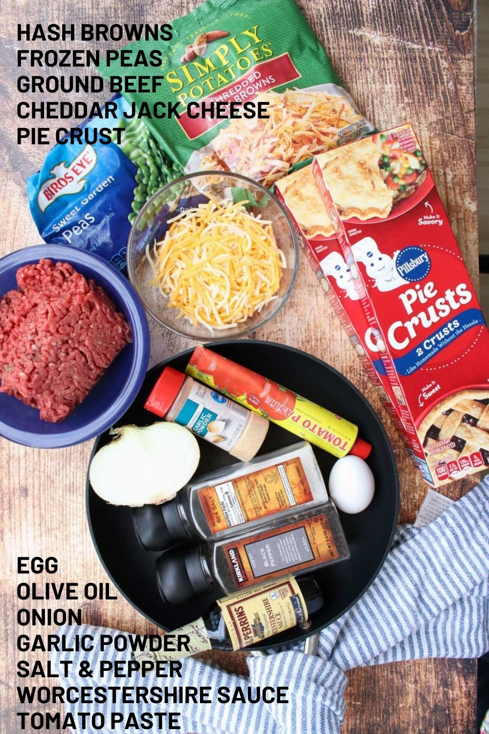 Ingredients needed to make beef and potato hand pies