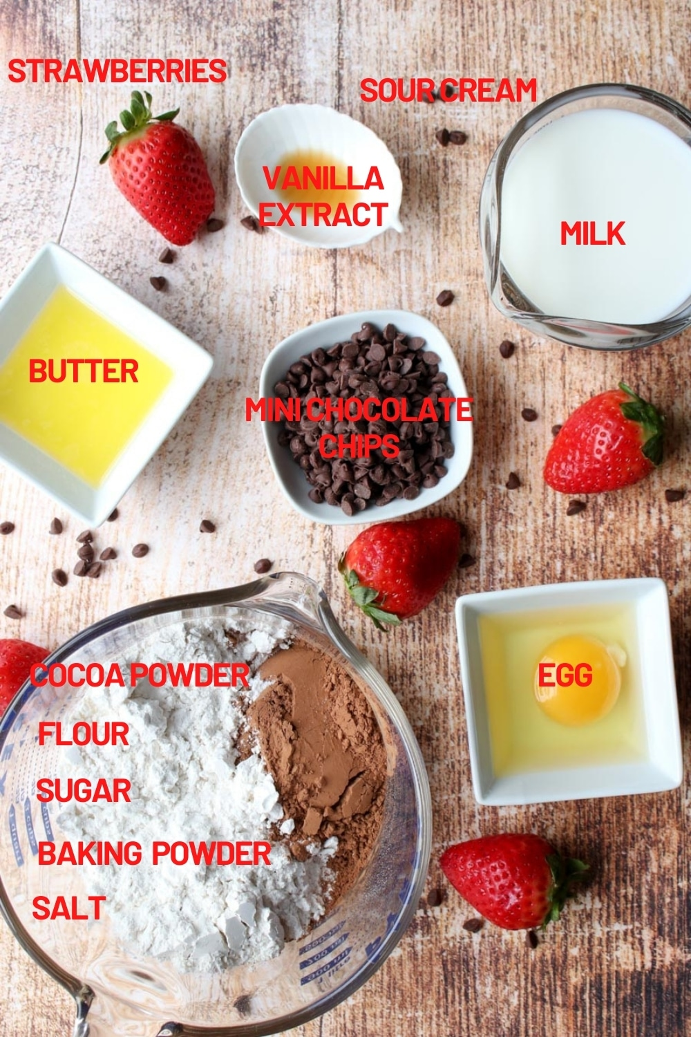 Ingredients for chocolate dessert tacos