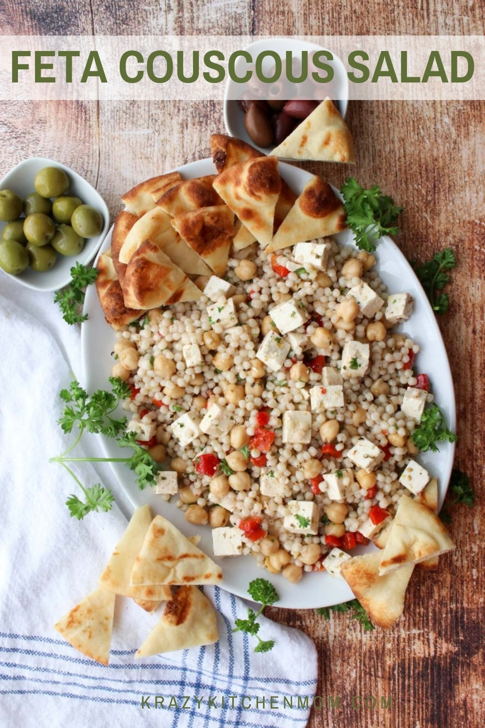Mediterranean Feta Couscous Salad is the perfect blend of flavors with bold spices and a tangy vinaigrette.  via @krazykitchenmom