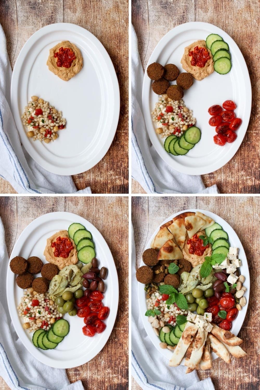 four photos of assembling a mezze platter