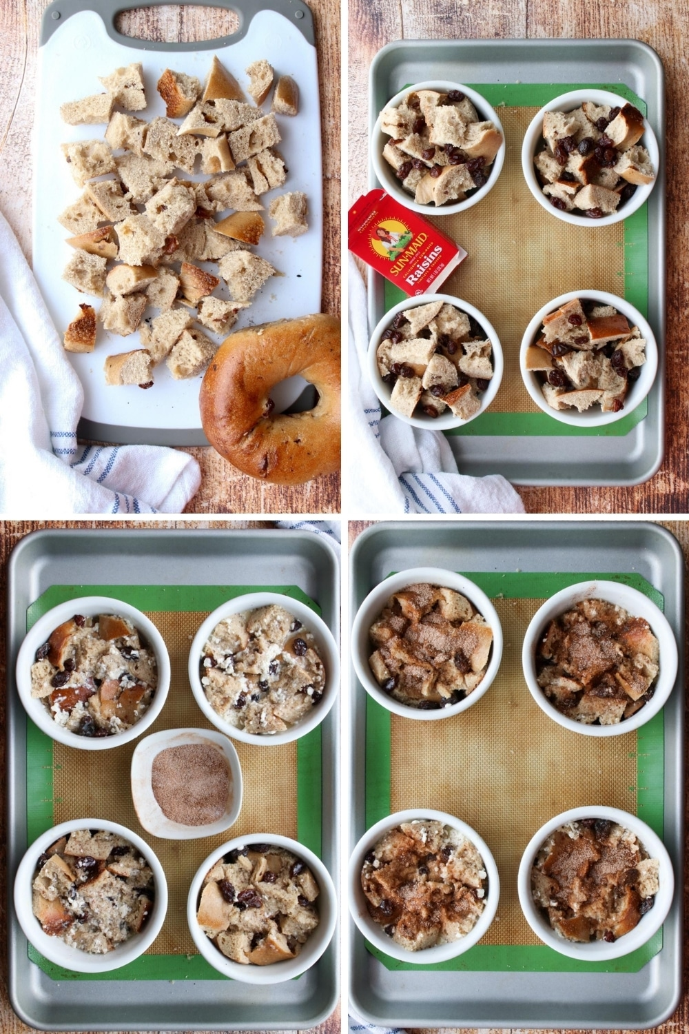COLLAGE SHOWING STEPS TO MAKE CINNAMON RAISIN BAGEL BREAD PUDDING