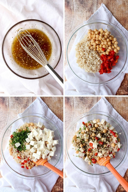 four photos showing how to assemble the couscous salad
