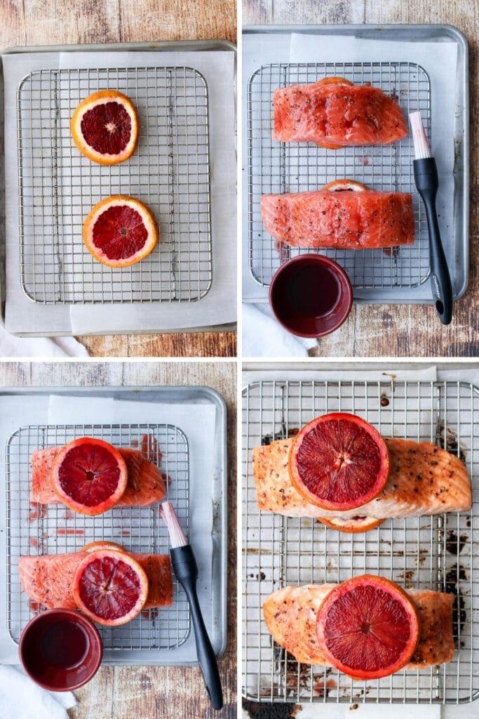 collage showing how to make blood orange glazed salmon
