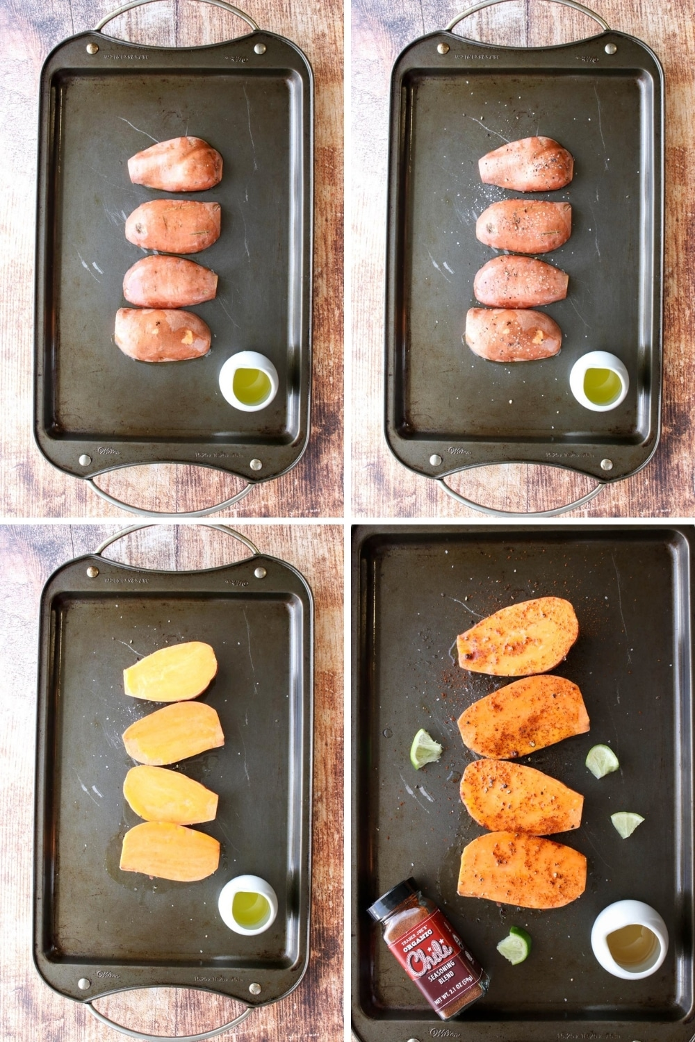 collage showing how to make honey lime roasted sweet potatoes