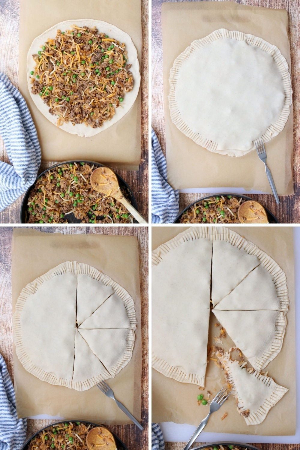 4 photos showing how to assemble hand pies
