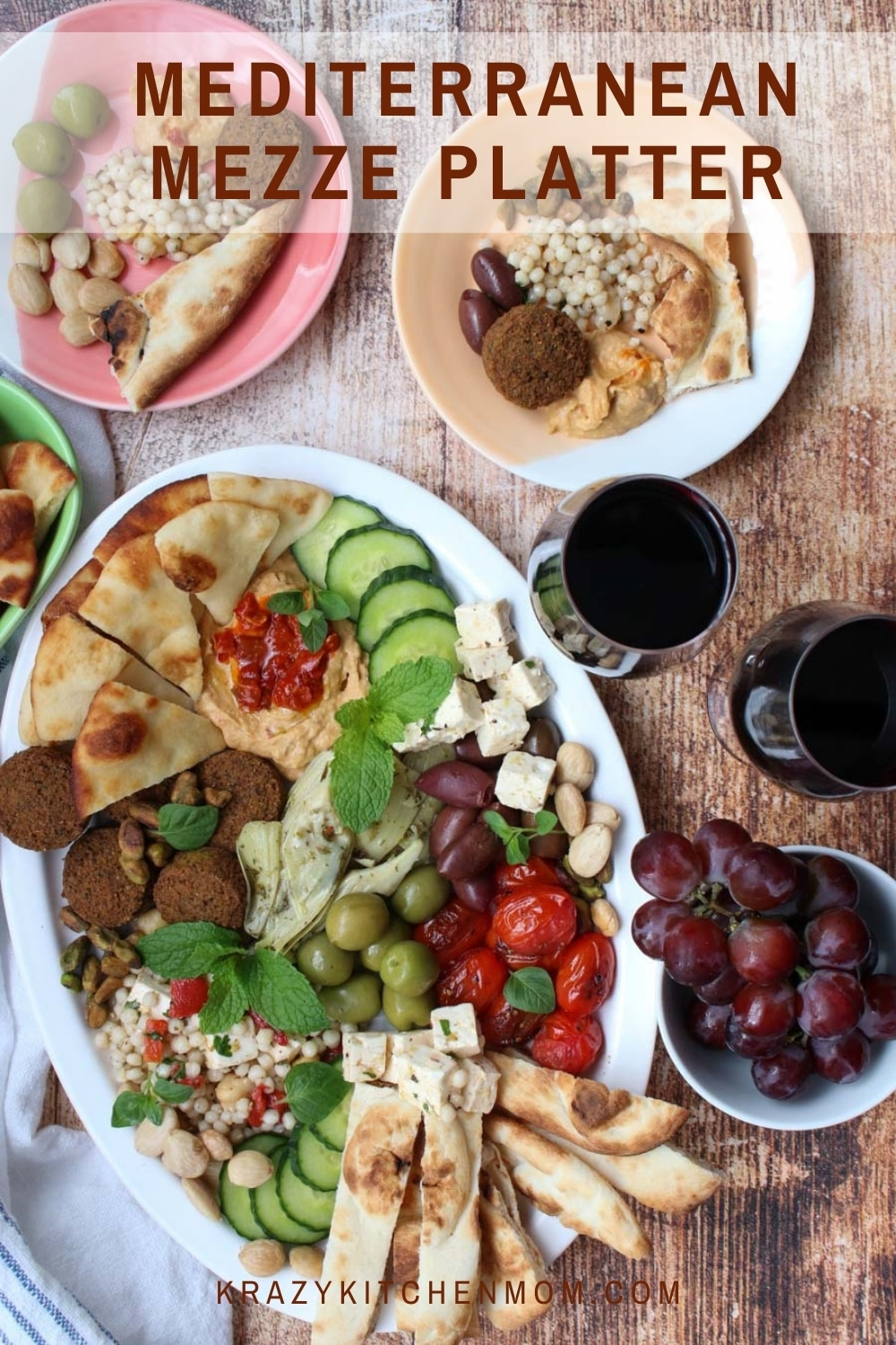 Learn how to make an eye-catching party platter with an assortment of small-sized foods with all the bold and bright flavors of the Mediterranean. via @krazykitchenmom