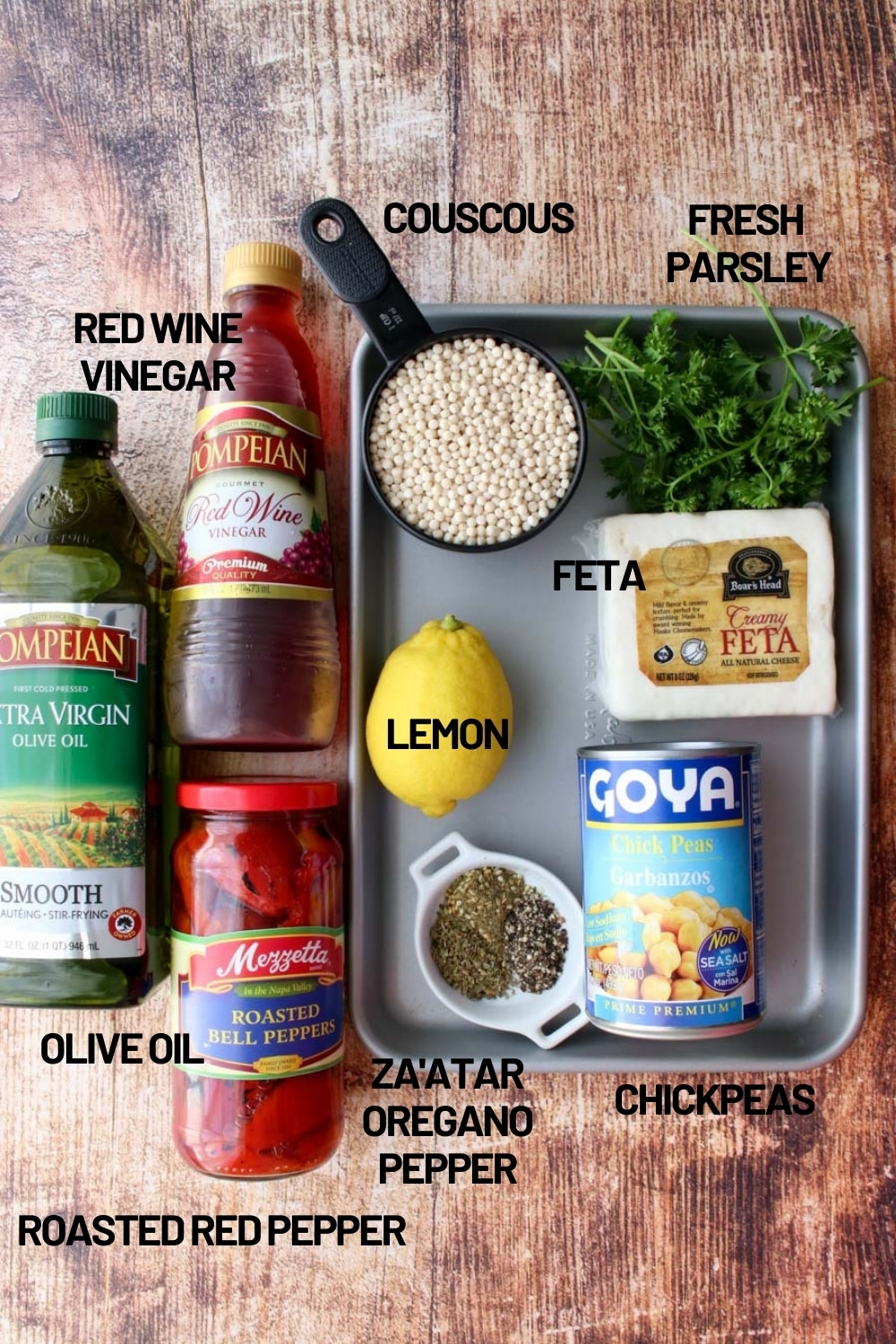 tray with ingredients to make couscous salad