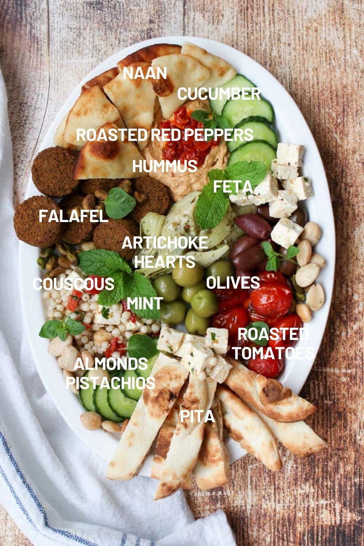 Ingredients on a mezze platter