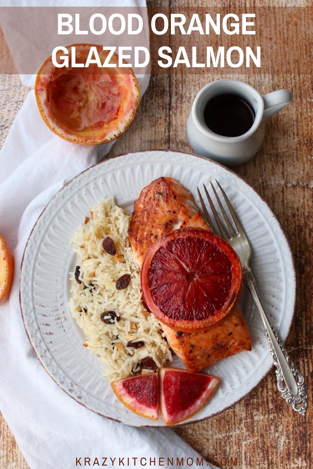 Sweet savory blood orange glaze kisses these salmon filets with all the right flavors. It's so good, you'll want to add it to your regular dinner rotation. via @krazykitchenmom