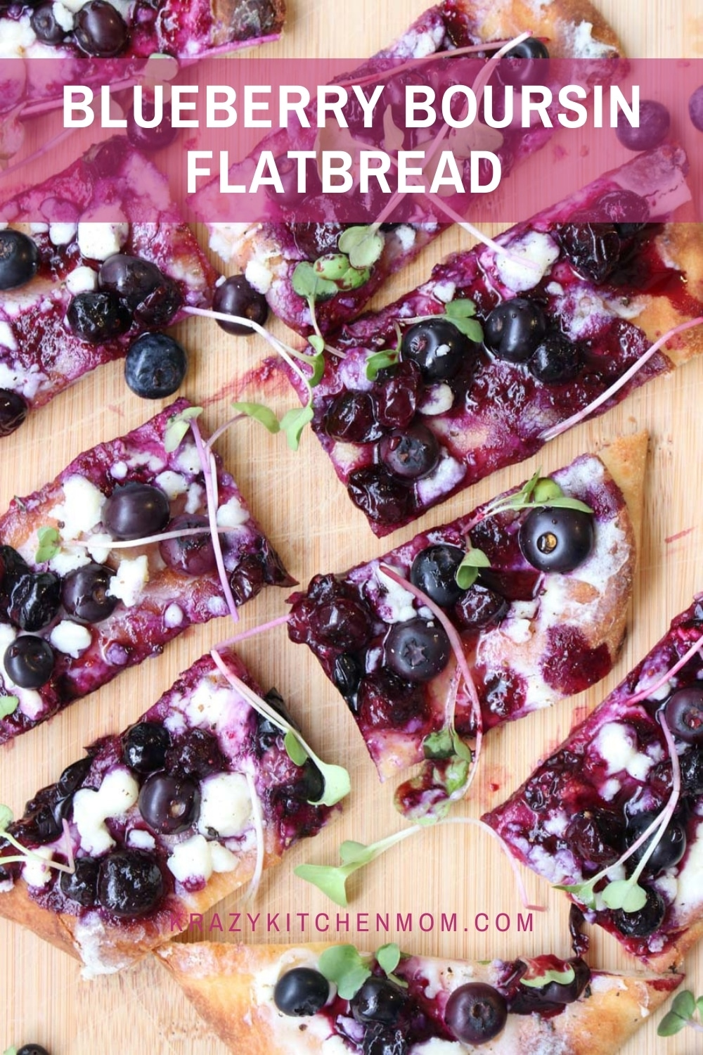 A sweet, tart, and savory flatbread that is ready in minutes using store-bought ingredients. Serve it as an appetizer or dessert. via @krazykitchenmom
