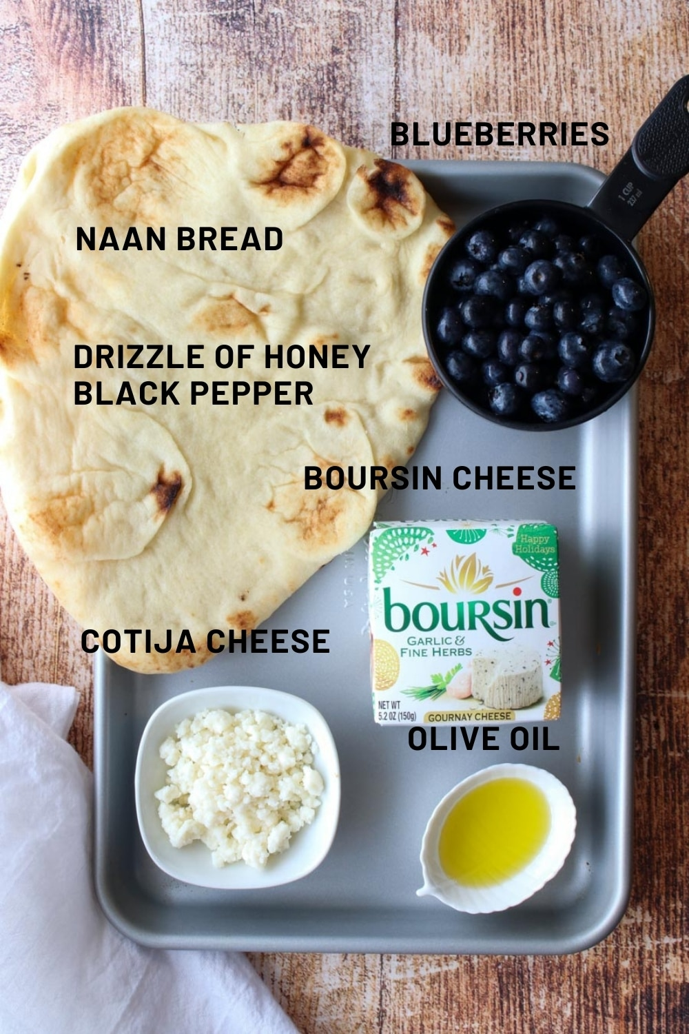 Ingredients for making blueberry Boursin flatbread