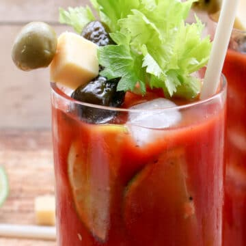 close up of the bloody mary garnishes