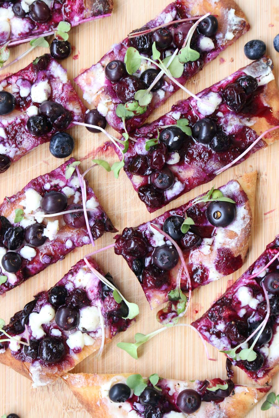 close up overhead photo of blueberry Boursin flatbread