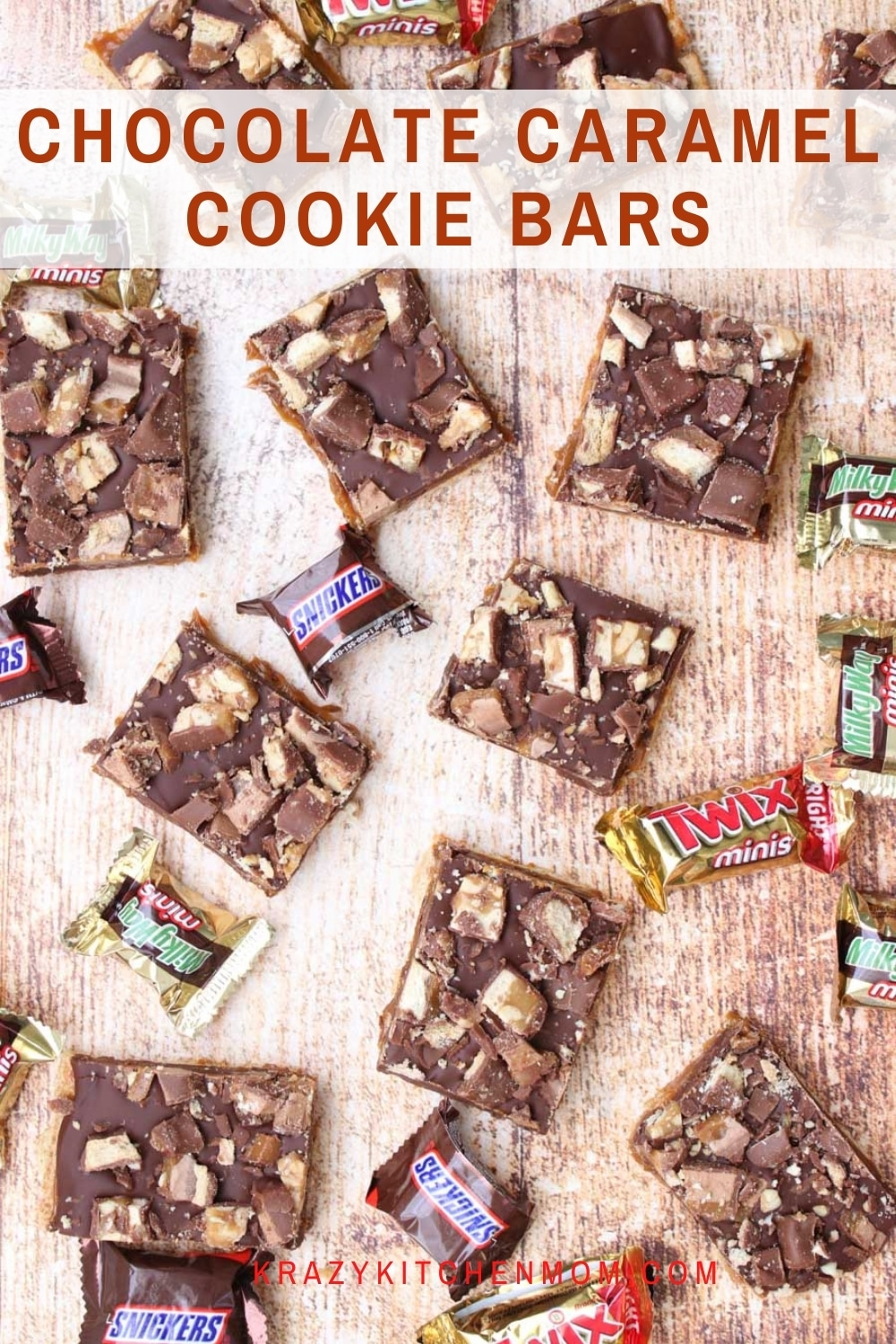 Ooey gooey, creamy, chocolatey cookie bars are my favorite no-bake, easy recipe for all my sweet tooth chocolate lovers. Made with graham crackers, caramel, chocolate chips, and assorted candy bars. via @krazykitchenmom