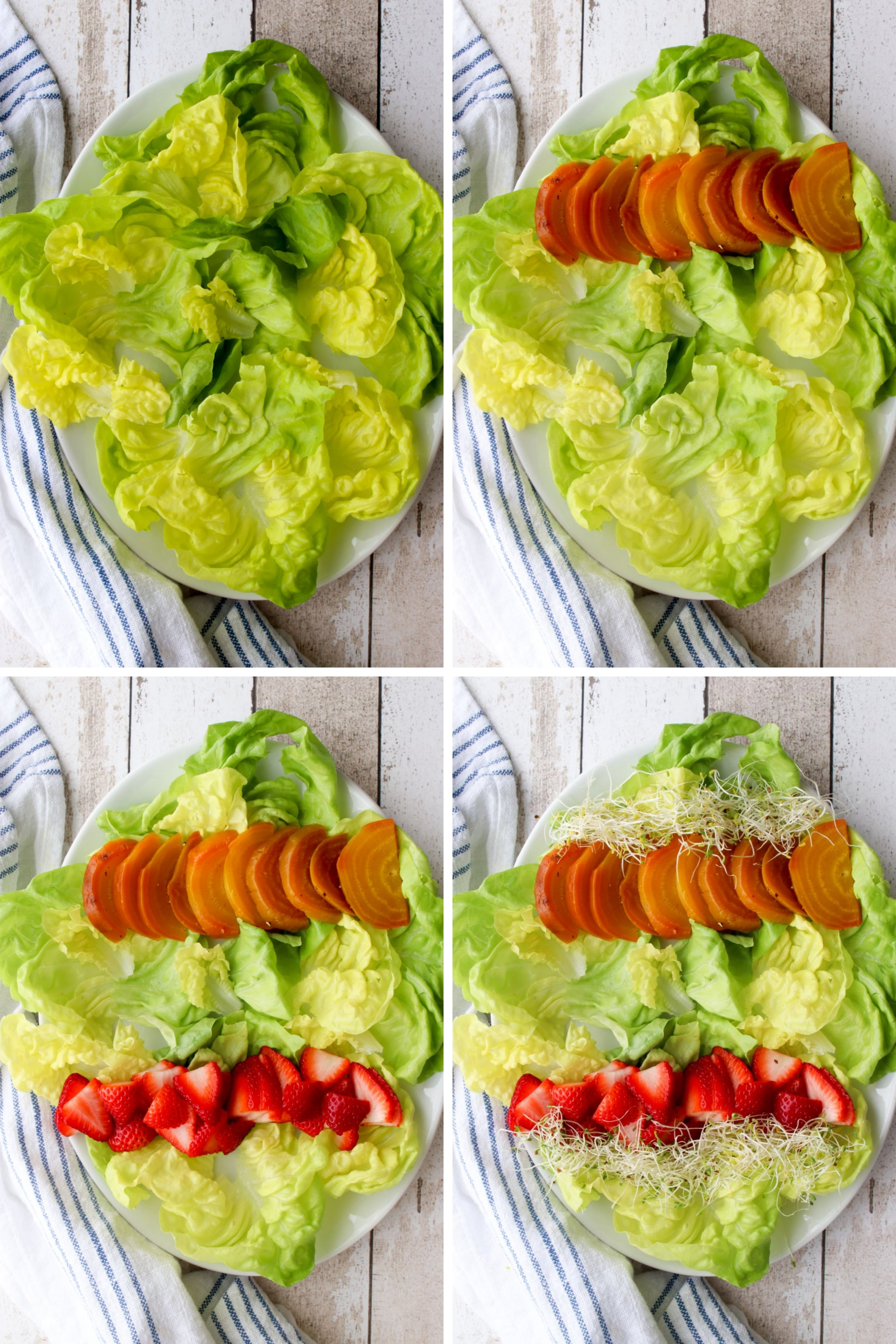 Collage showing how to assemble the spring salad