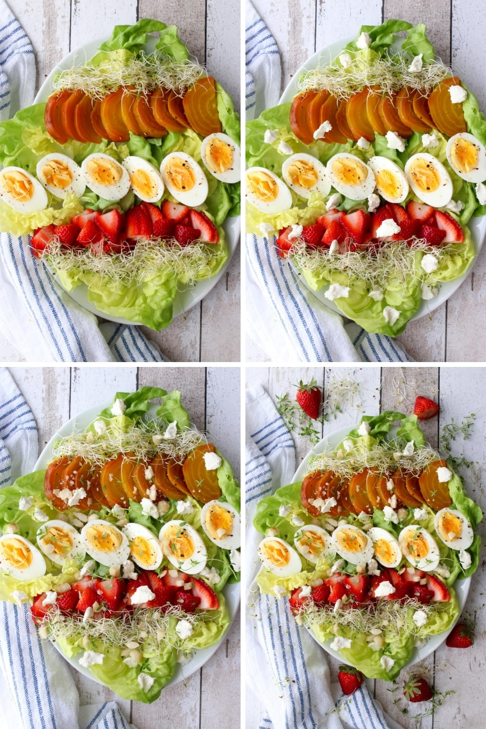 collage showing how to assemble the salad