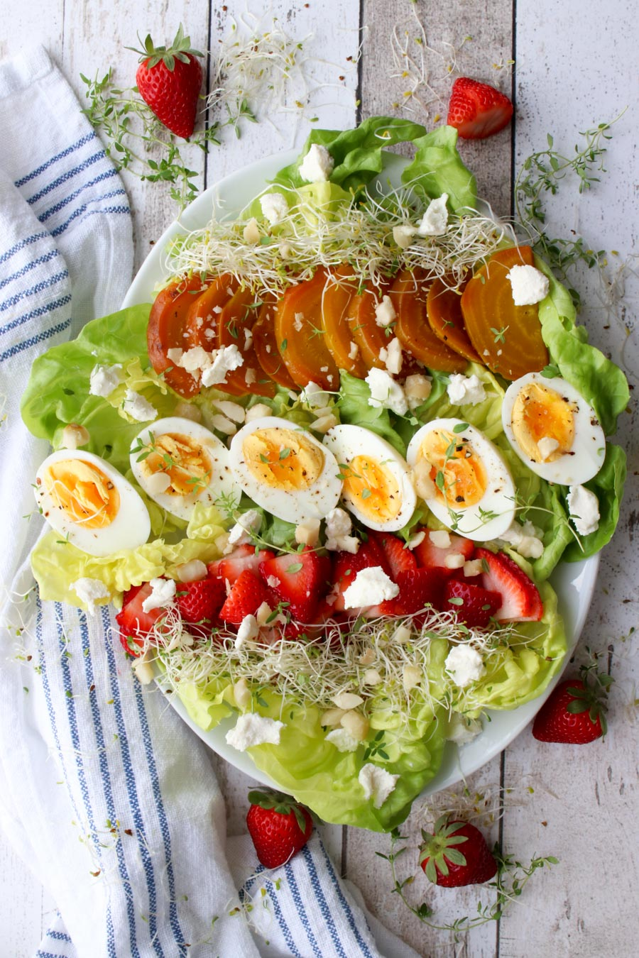 platter with a colorful spring salad
