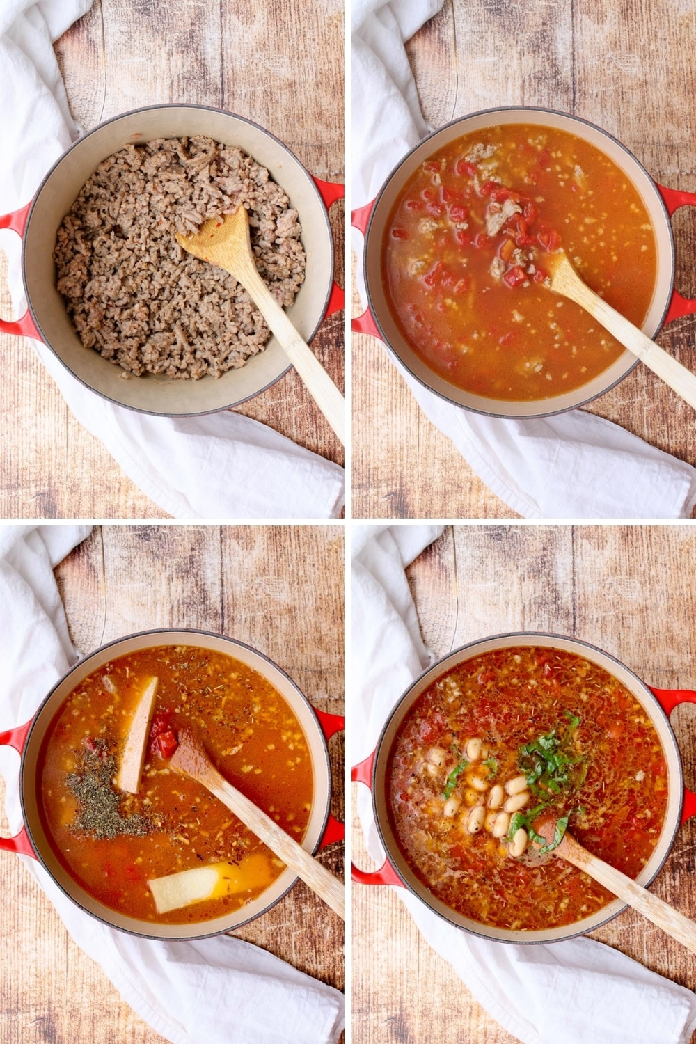 collage showing how to make sausage and bean soup