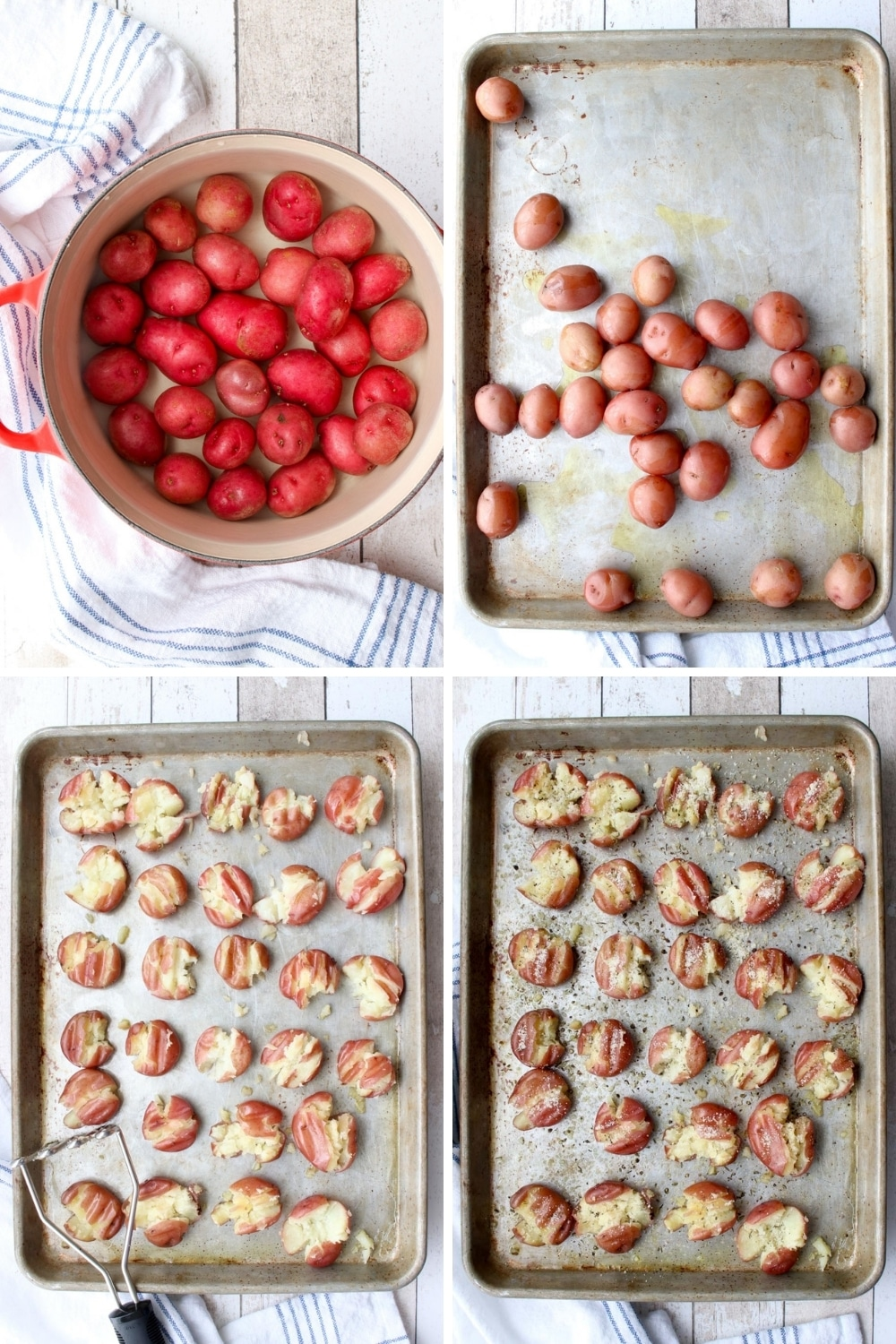 collage showing how to make smashed potatoes