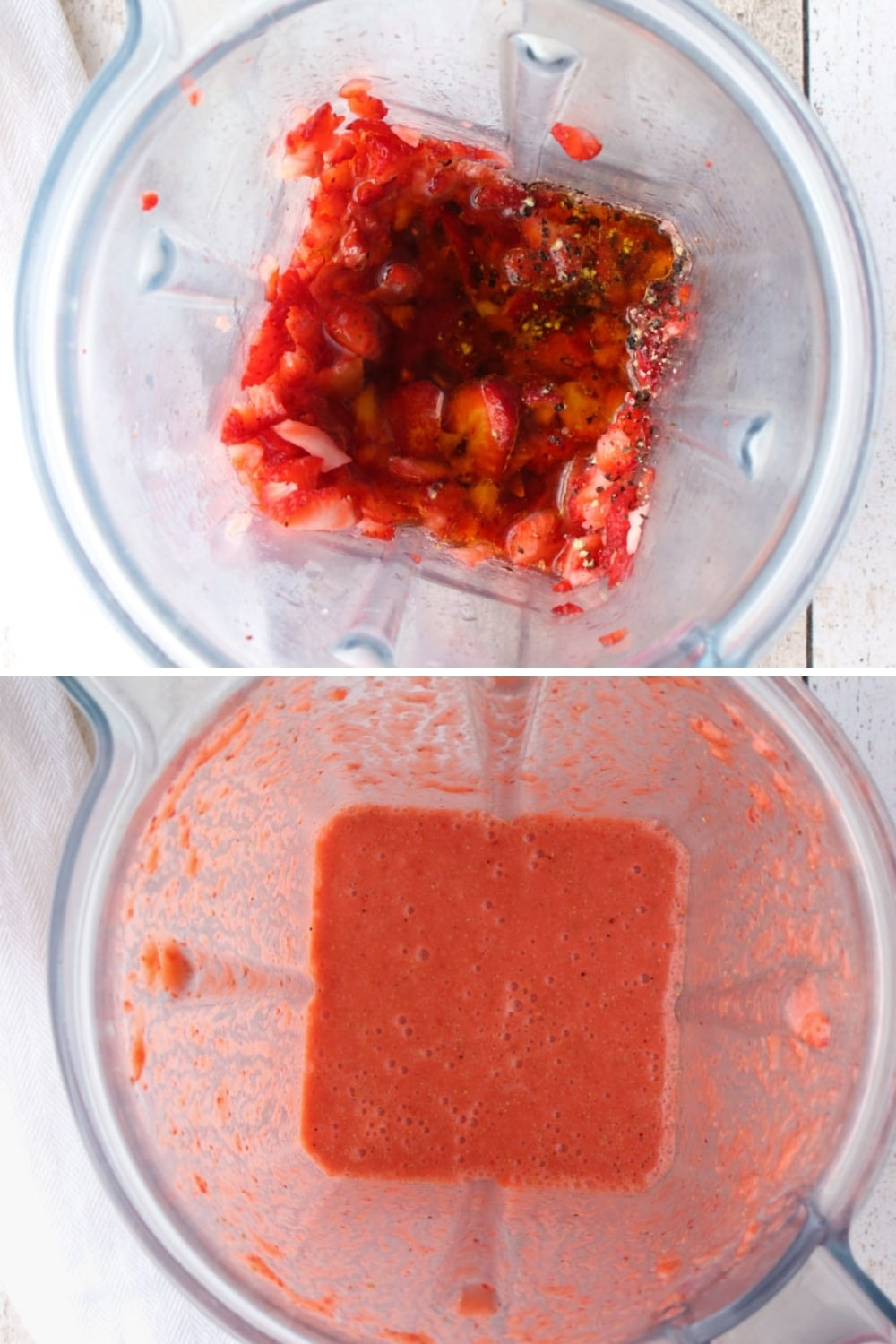collage showing how to blend strawberry vinaigrette