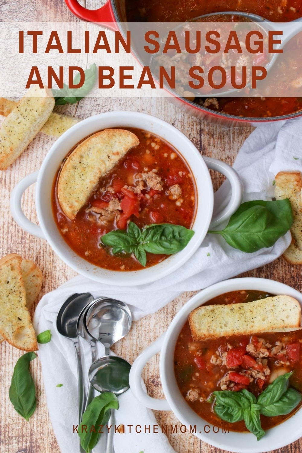 Tomatoes, Italian sausage, and white beans are a flavor marriage made in heaven. There is nothing not to love about this hearty soup that is a meal by itself.  via @krazykitchenmom