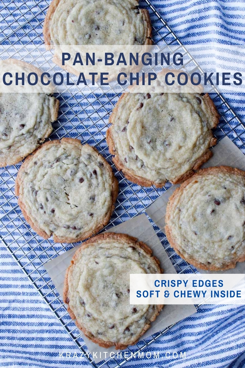 Giant chocolate chip cookies with crispy outside and soft and chewy inside.  via @krazykitchenmom