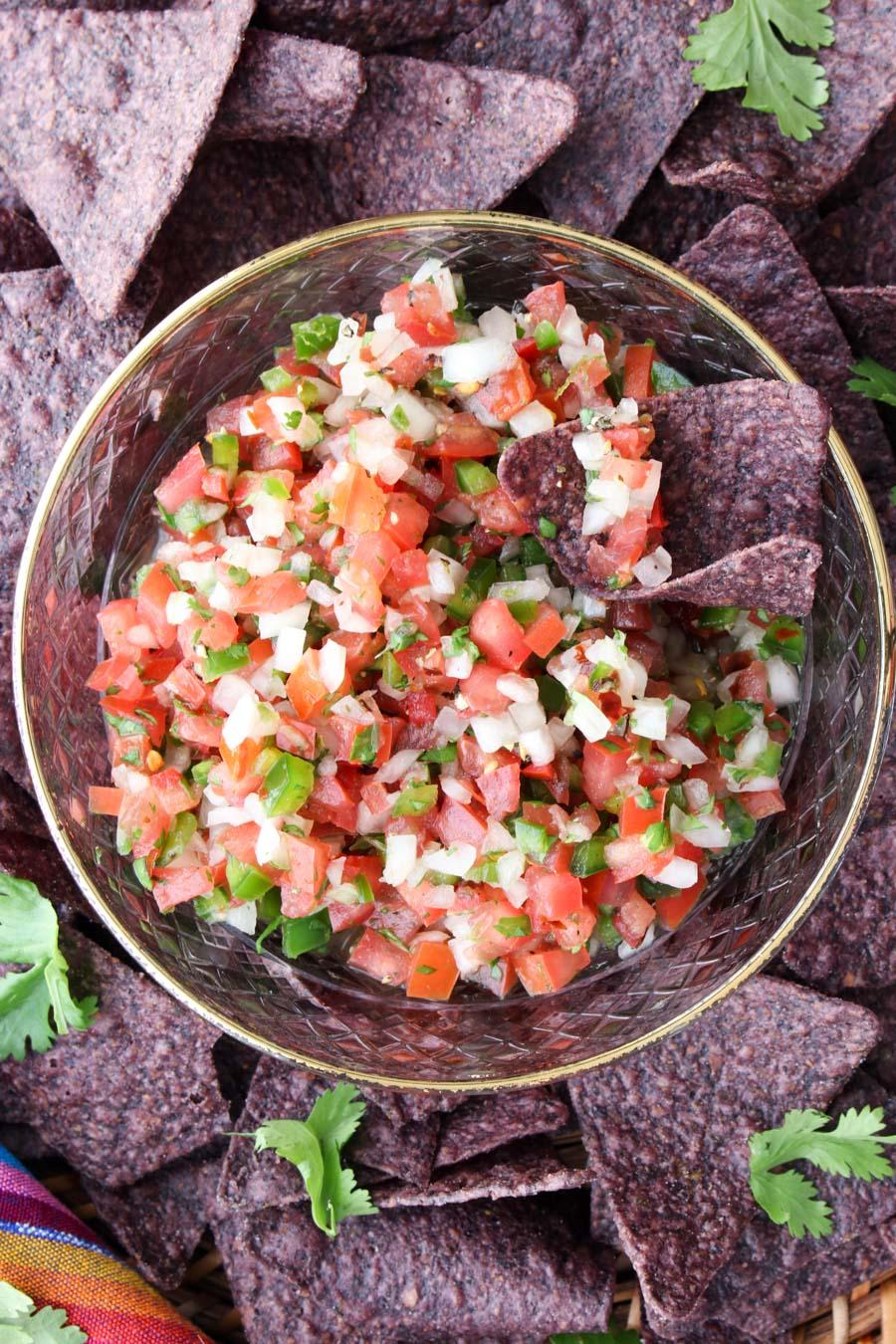 close up shot of a bowl of pico de gallo