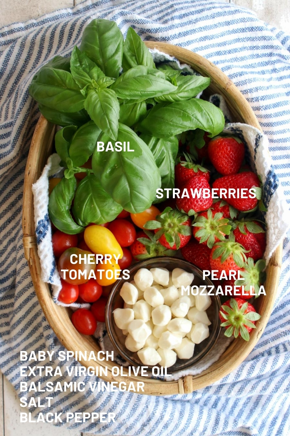 BASKET WITH THE INGREDIENTS TO MAKE STRAWBERRY CAPRESE SALAD