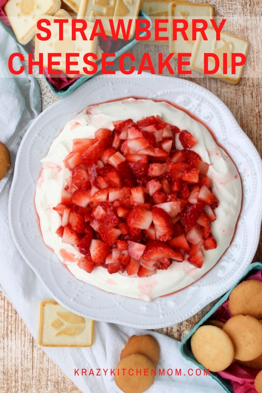 No-bake, super creamy, light, and fluffy cheesecake filling topped with fresh sweet strawberries. Serve it with cookies or fruit for dipping. via @krazykitchenmom