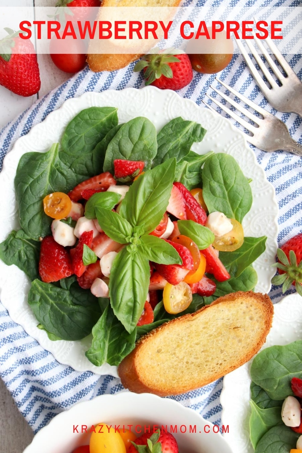 A traditional cypress salad dressed up for spring and summer by adding ripe juicy strawberries. It's perfect for any spring or summer gathering.  via @krazykitchenmom