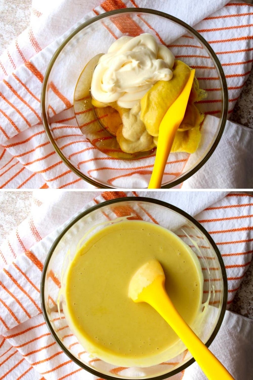 2 photos showing mixing honey mustard sauce