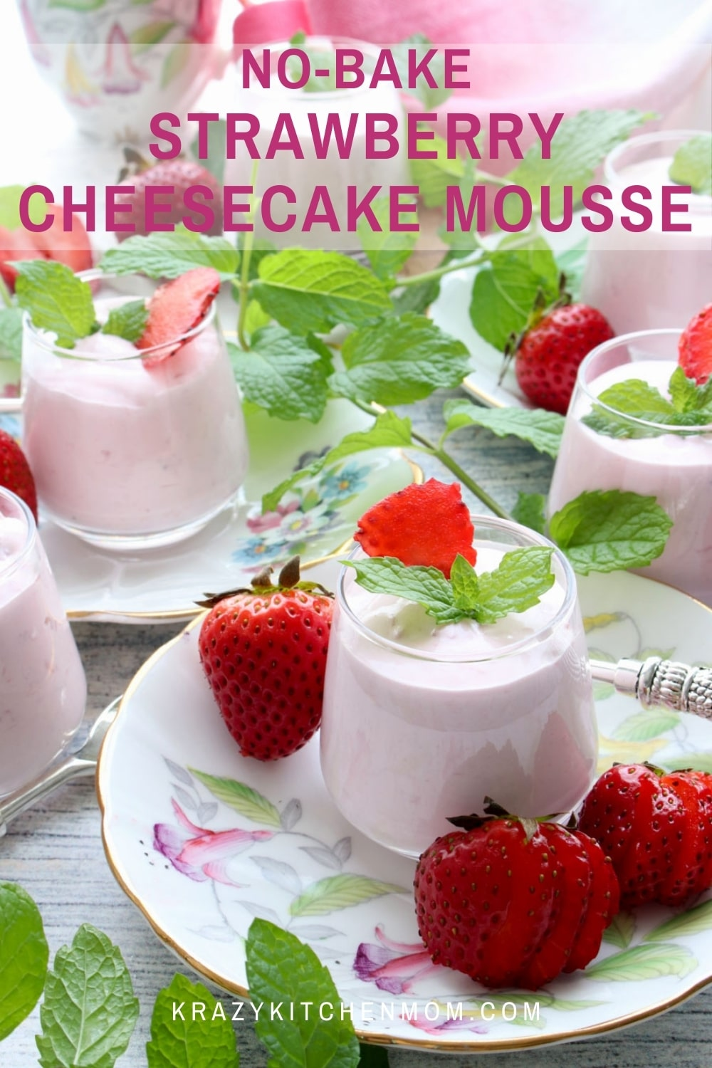 Smooth, creamy, silky strawberry cheesecake mousse with bits of fresh strawberries. It has all of the flavors of a baked cheesecake without the work.  via @krazykitchenmom