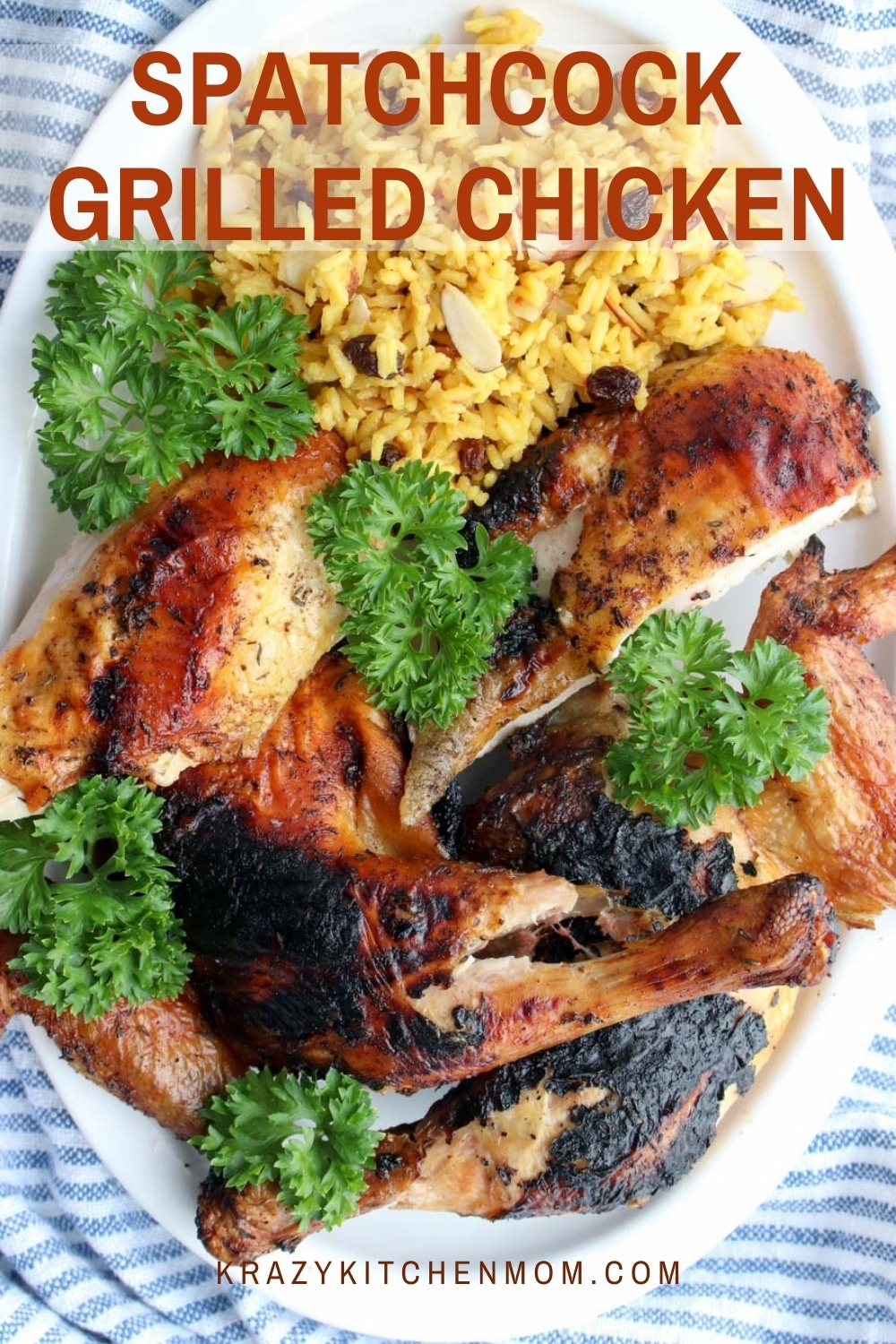 Juicy, tender, grilled chicken rubbed with herbs and spices and flattened for grilling. Spatchcocking the chicken allows it to cook evenly. via @krazykitchenmom