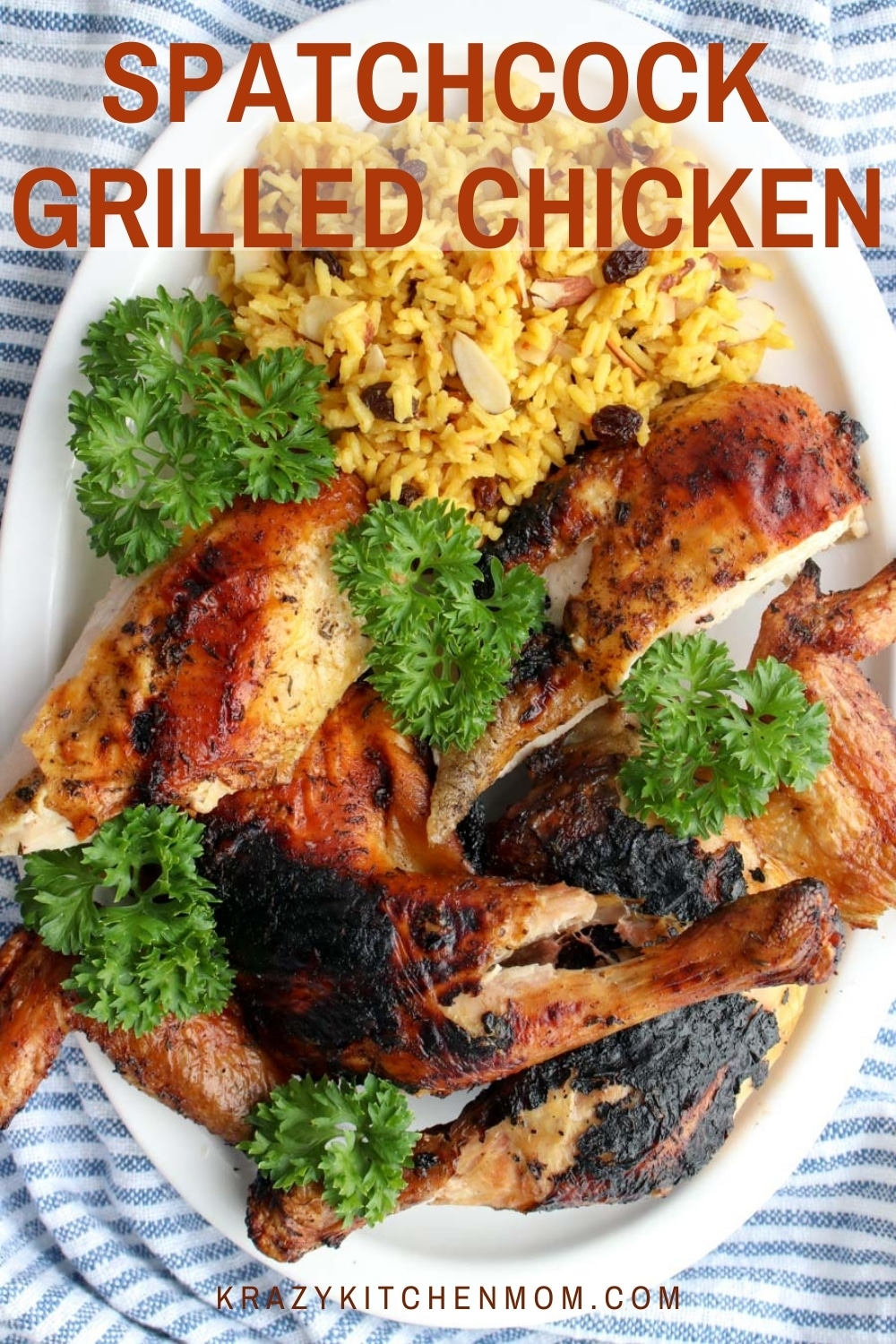 JJuicy, tender, grilled chicken rubbed with herbs and spices and flattened for grilling. Spatchcocking the chicken allows it to cook evenly. via @krazykitchenmom