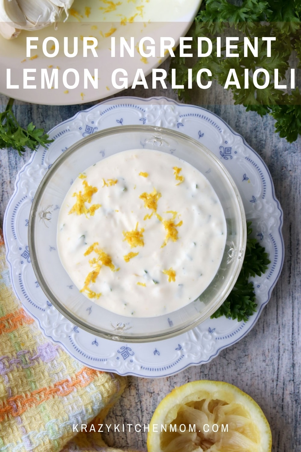Make a creamy, zesty, bright, aioli using only four ingredients. Use it where ever you would use mayonnaise - as a spread or a dip. Creamy, zesty, bright deliciousness. via @krazykitchenmom