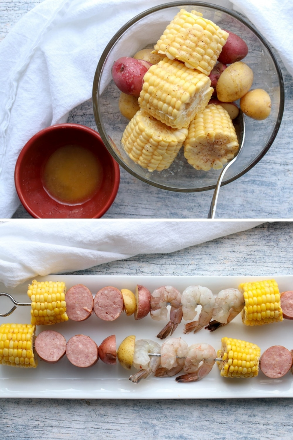 Two photos showing how to make kabobs