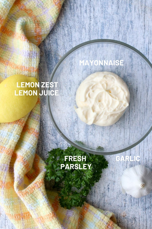 photo of ingredient to make lemon garlic aioli