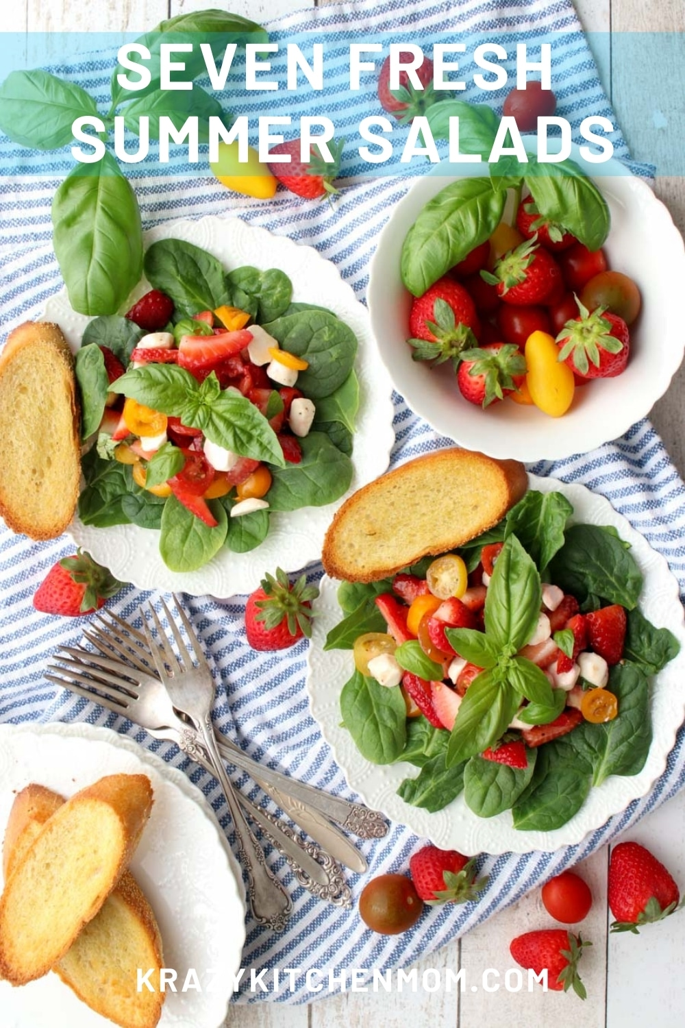 Seven big, bold, colorful, fresh summer salads to make for a casual family dinner, your next cookout, or a quiet afternoon lunch.  via @krazykitchenmom