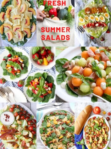 Collage of seven summer salads