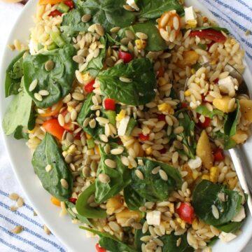 platter of orzo salad