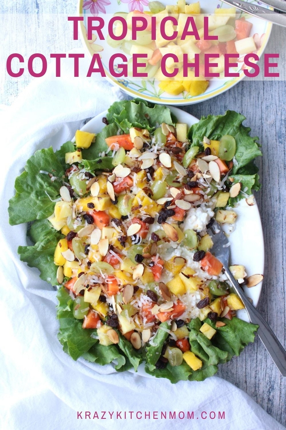 Brighten up your brunch or lunch menu. Creamy, crunchy, sweet, fruity tropical cottage cheese fruit salad is not only good, but it's good for you.  via @krazykitchenmom