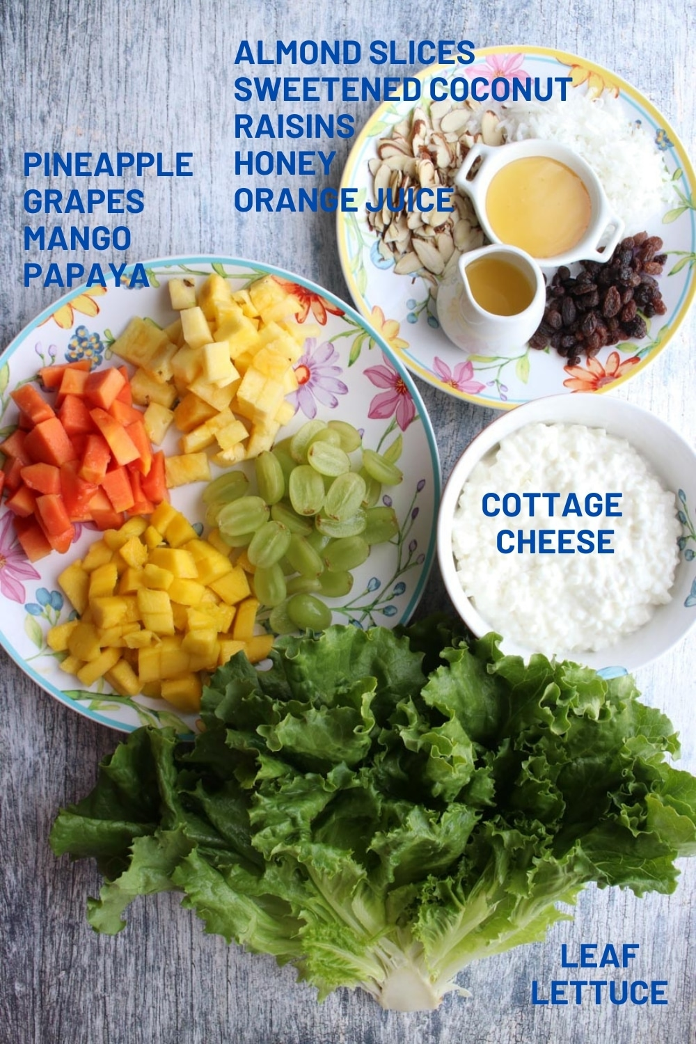 ingredients to make tropical cottage cheese fruit salad