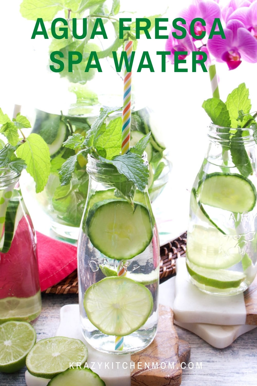 When it's hot outside all you want is something cold and refreshing. Kick it up by making a large pitcher of cucumber lime agua fresca spa water.  via @krazykitchenmom