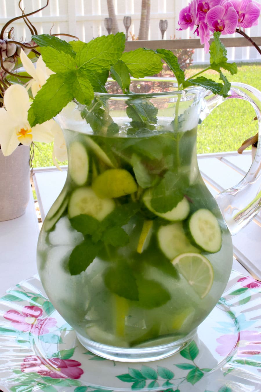 large pitcher of spa water