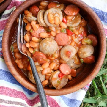 wooden bowl of beans and weenies